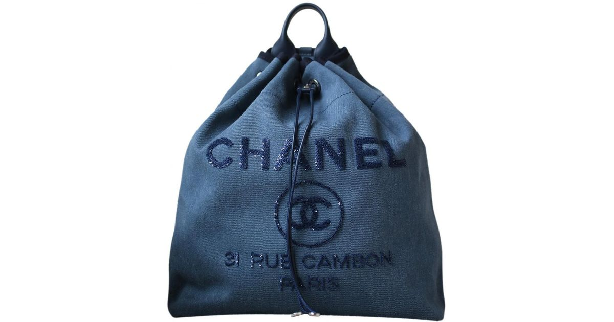 bb08ea0229d5 Chanel Deauville Cloth Backpack in Blue - Lyst
