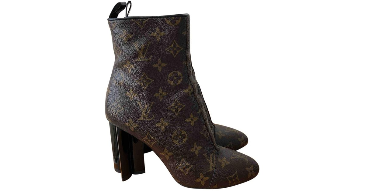 4d0018cf9 Lyst - Louis Vuitton Cloth Ankle Boots in Brown