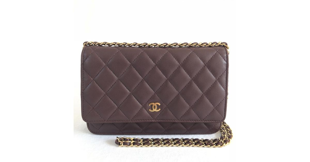 49bb7641b0e6 Lyst - Chanel Wallet On Chain Leather Clutch Bag in Purple