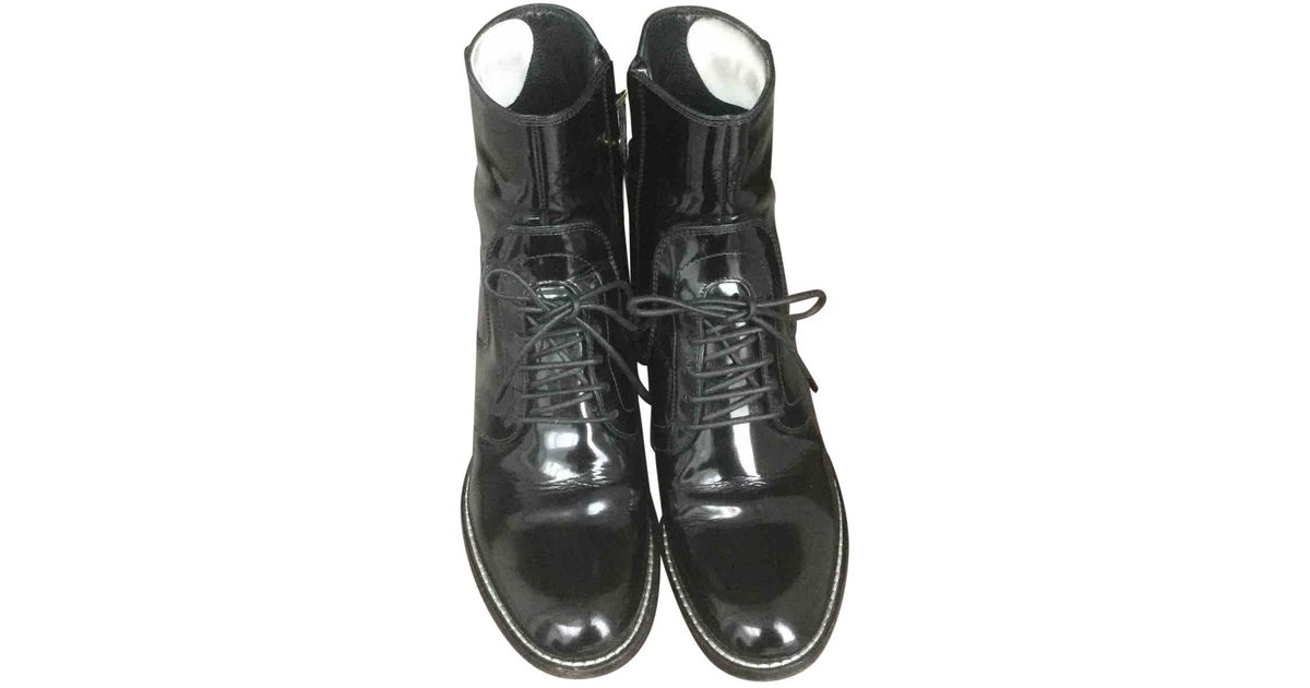 9017a6c55d8 Louis Vuitton Black Patent Leather Lace Up Boots