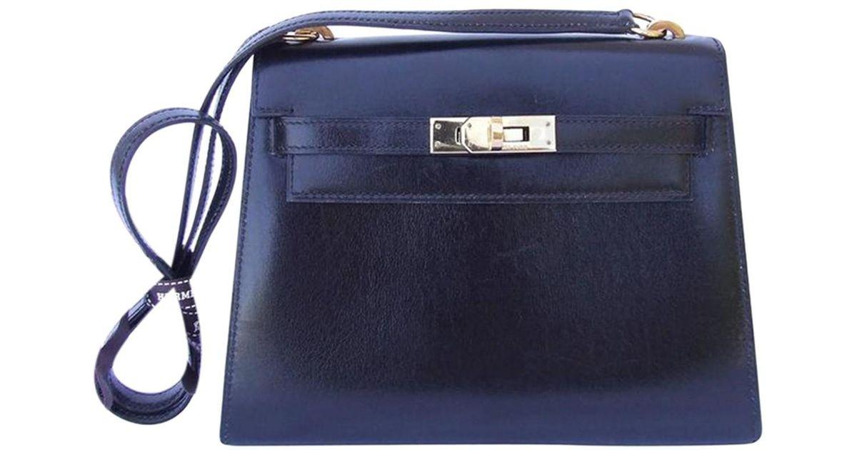 Sac Main Cuir Black Coloris À En Hermès Mini Kelly vOmyN8nw0