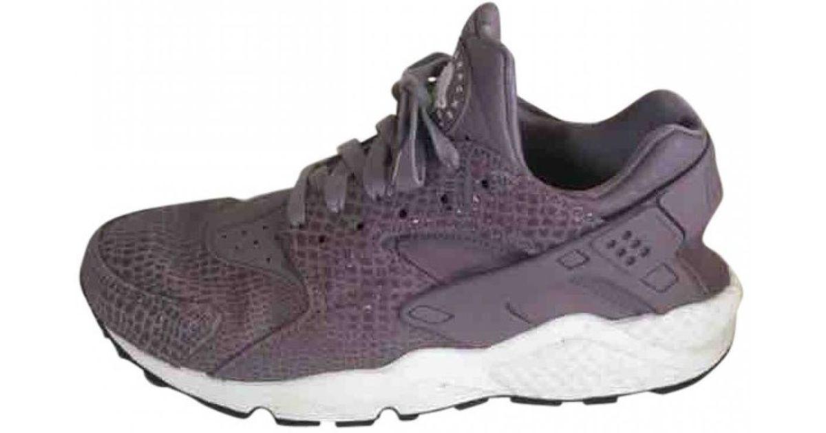 best loved aeb2c 0d26f ... inexpensive lyst nike pre owned huarache purple leather trainers in  purple e8fce e0093