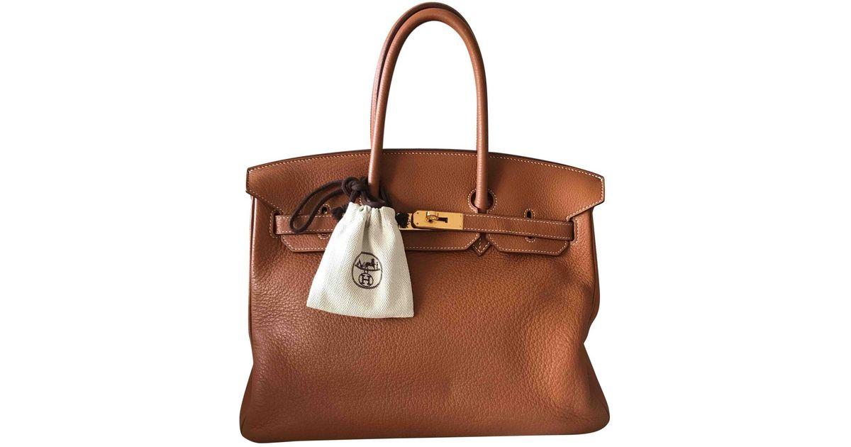 Lyst - Sac à main Birkin 35 en cuir Hermès en coloris Marron 9cd0bedd9db
