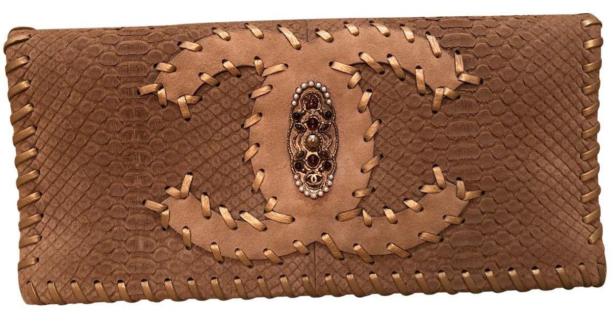 49c2b5521faef9 Chanel Brown Python Clutch Bag in Brown - Lyst