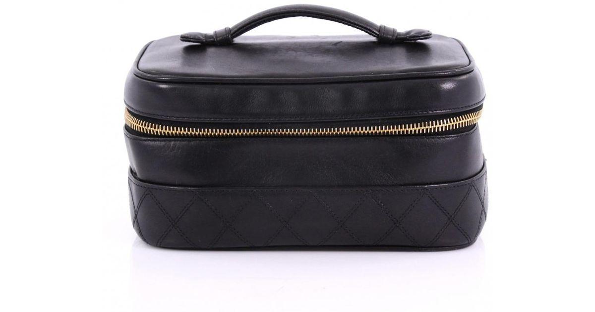 3ca07676b9ba Lyst - Chanel Leather Vanity Case in Black