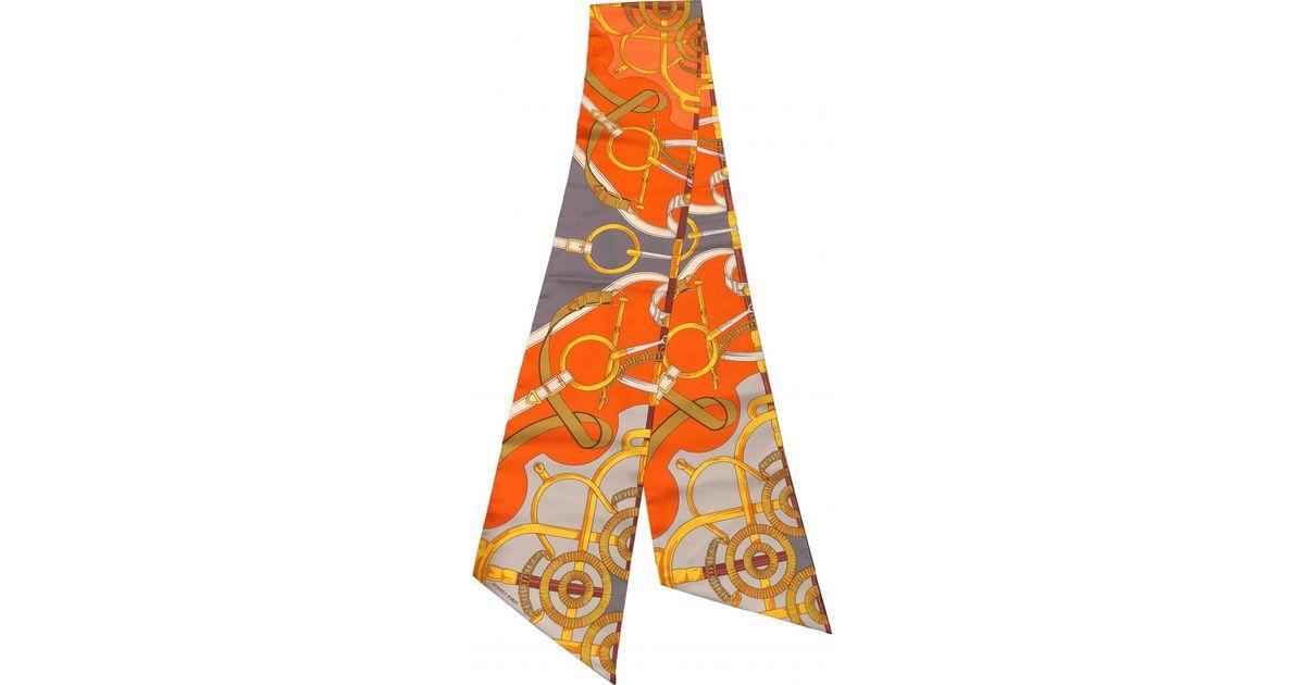 Style classique hot-vente plus récent choisir officiel Foulard Maxi twilly en soie Hermès en coloris Orange