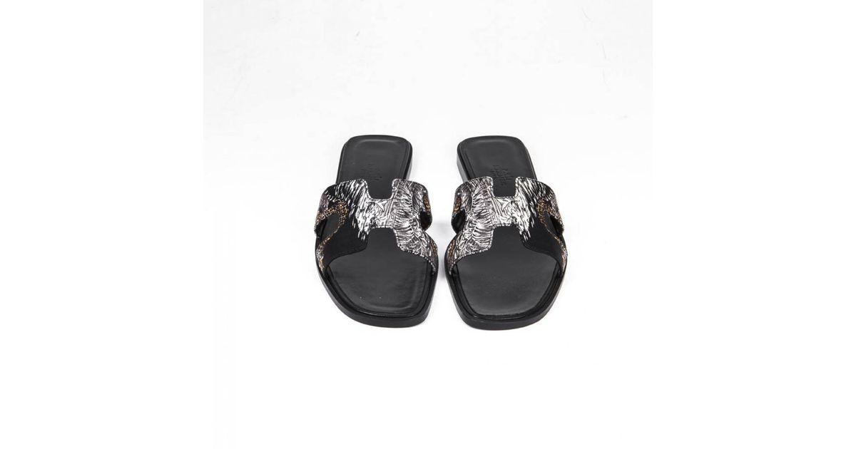 Black Coloris Hermès Sandales Oran En yb6IYf7gv