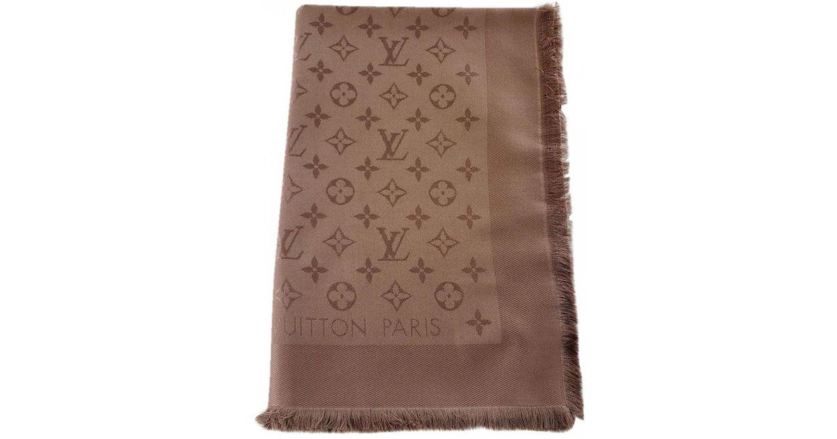 10b52fefbc99 Lyst - Louis Vuitton Châle Monogram Shine Silk Stole in Brown