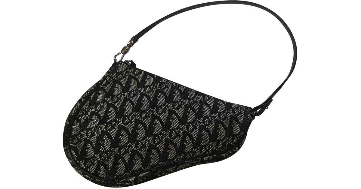 084bcb3d7 Dior Saddle Cloth Clutch Bag in Black - Lyst
