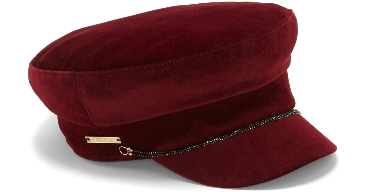 e3899d51835 Lyst - Vince Camuto Corduroy Newsboy Cap in Red