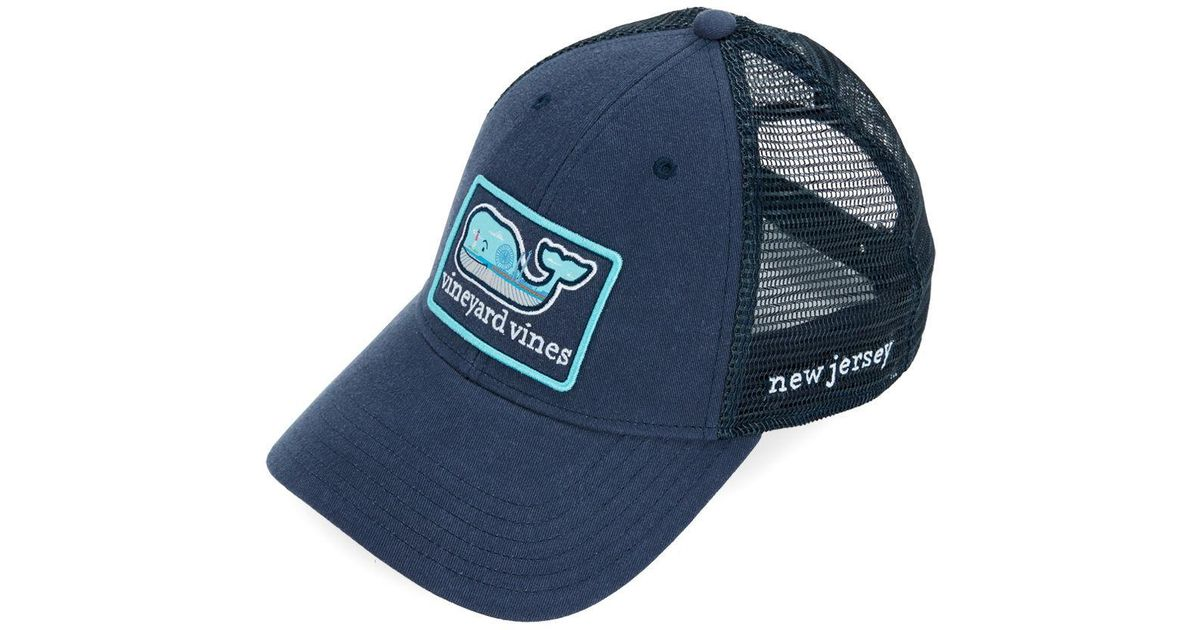 6428f7530bc ... low price lyst vineyard vines new jersey icon trucker hat in blue for  men b888d 65be2