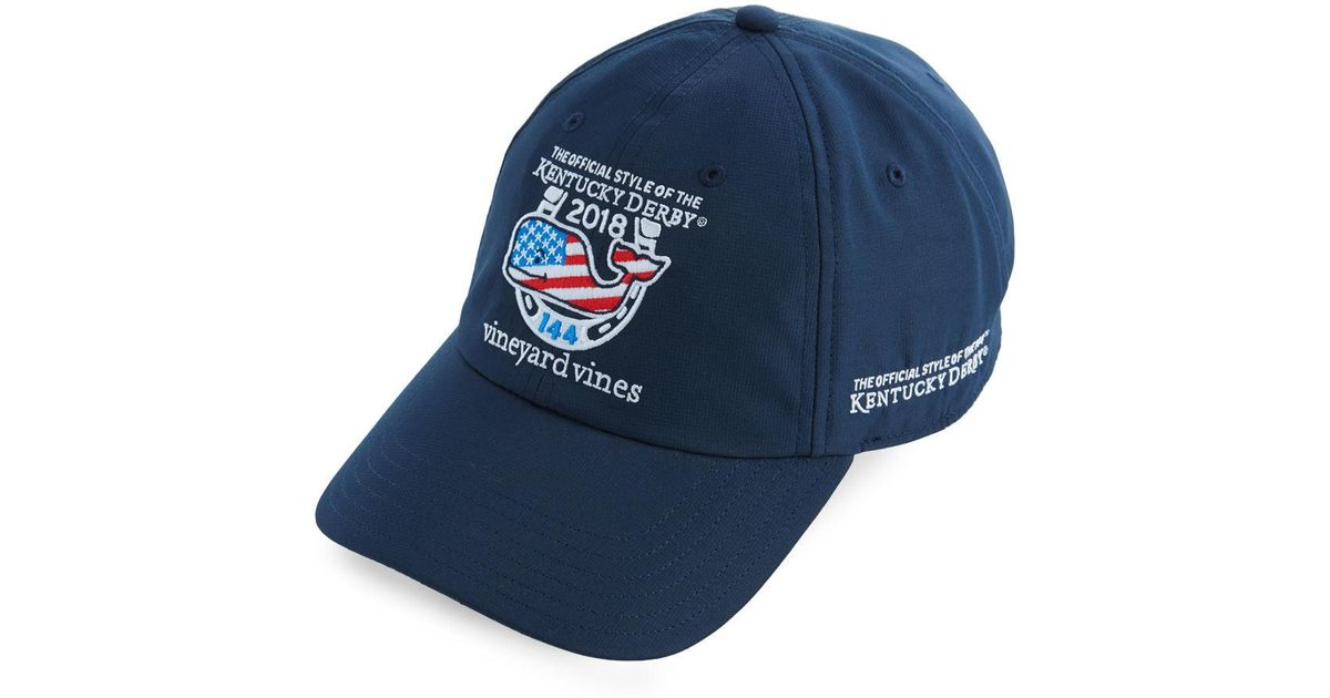 c38673f0d96 ... best price lyst vineyard vines kentucky derby performance whale flag  fill baseball hat in blue for