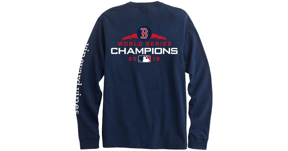 reputable site f5f58 f6d41 Vineyard Vines Blue Adult Long-sleeve Boston Red Sox World Series Champions  T-shirt for men