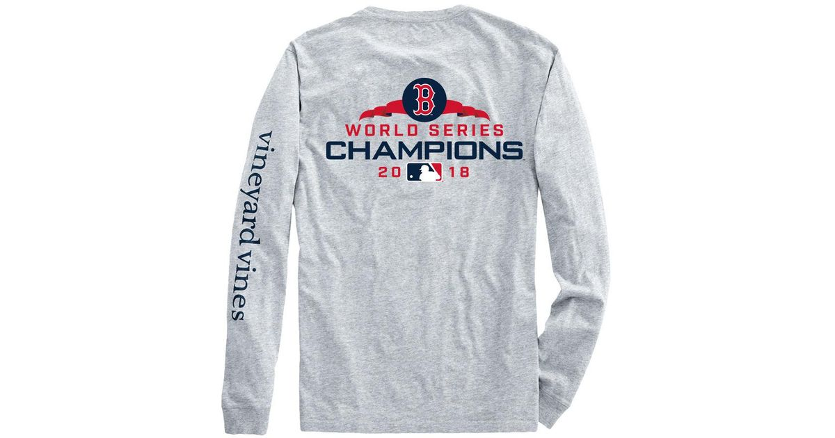 best service 46e07 70158 Vineyard Vines Gray Adult Long-sleeve Boston Red Sox World Series Champions  T-shirt for men