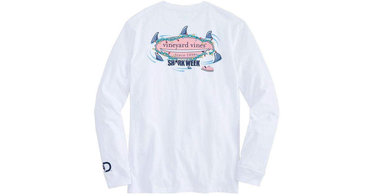 Vineyard Vines Boys Shark Week Circling Shark Hull Blue Print Swim Shorts