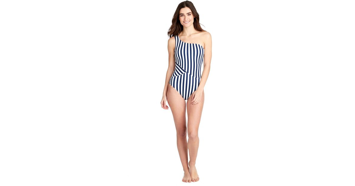 NEW Mei L/'Ange Tori Broad Strap Color Block 1-Piece Swimsuit M Medium Navy