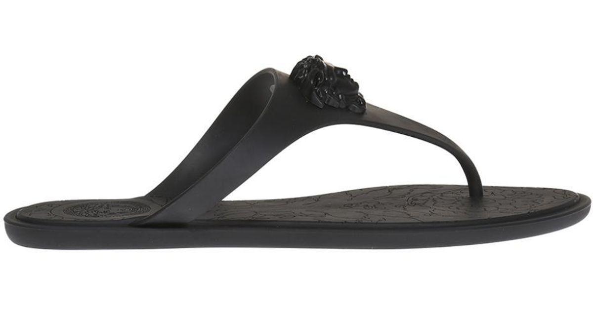 5cf61a27d7d395 Lyst - Versace Medusa Head Flip Flops in Black