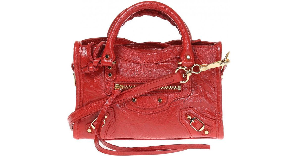 c8525976067b Lyst - Balenciaga  nano City  Shoulder Bag in Red
