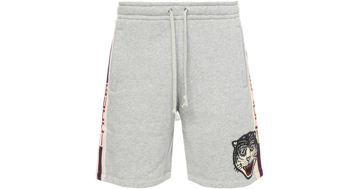 Lyst - Gucci Side-stripe Sweat Shorts in Gray for Men 80551225e27f