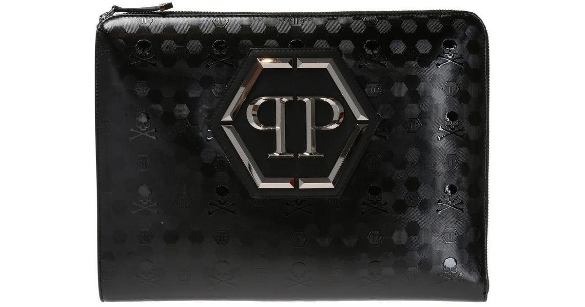 Philipp Plein Black Want clutch bag T2BF1aur