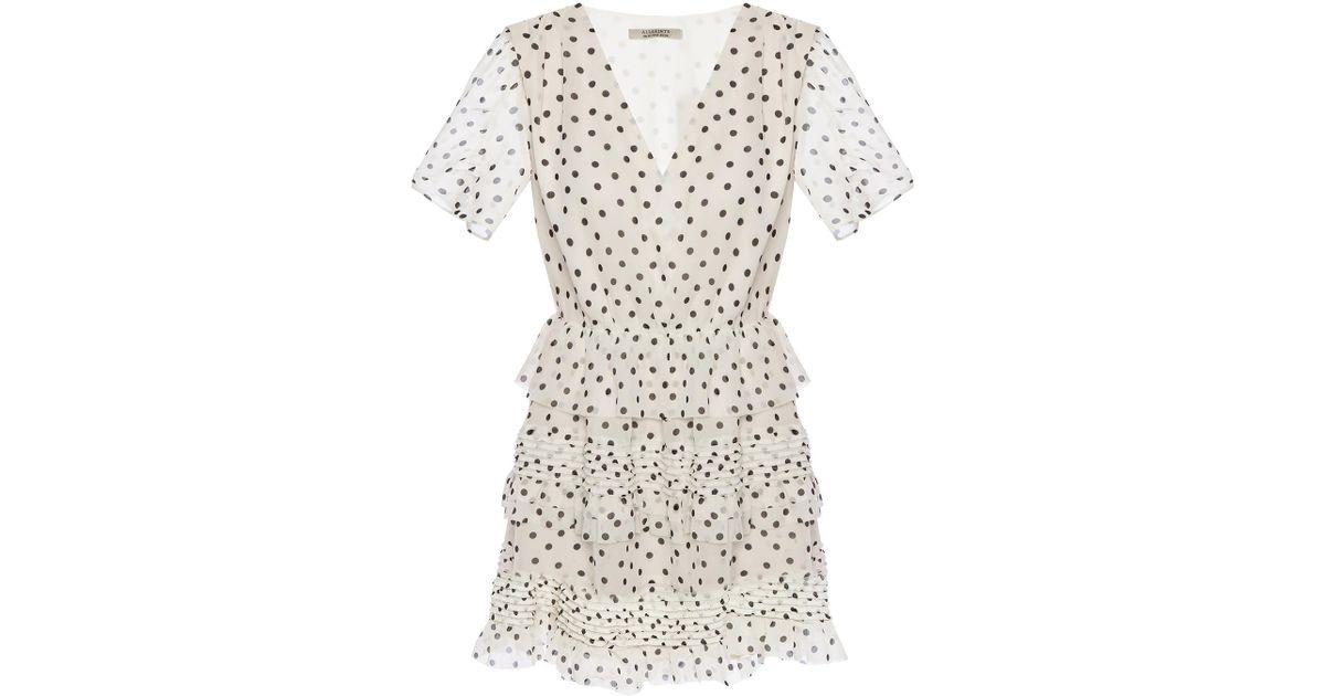 b1297d686c AllSaints  ilia  Polka Dot Dress in White - Lyst