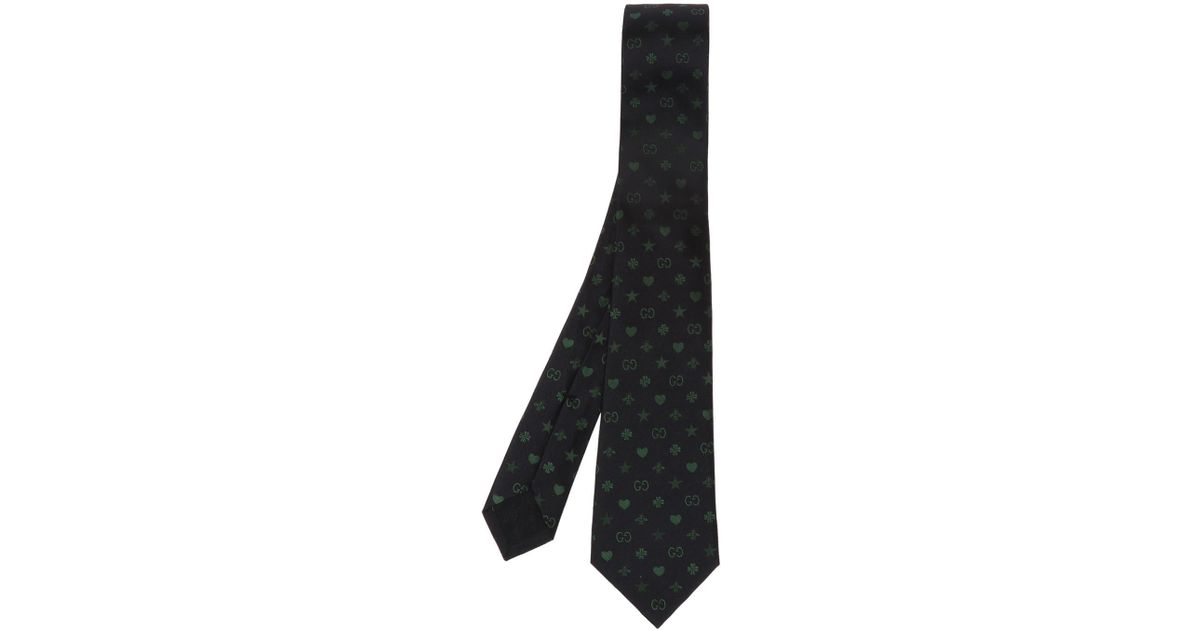 235639df70a Lyst - Gucci Silk Tie With Logo Pattern in Blue for Men