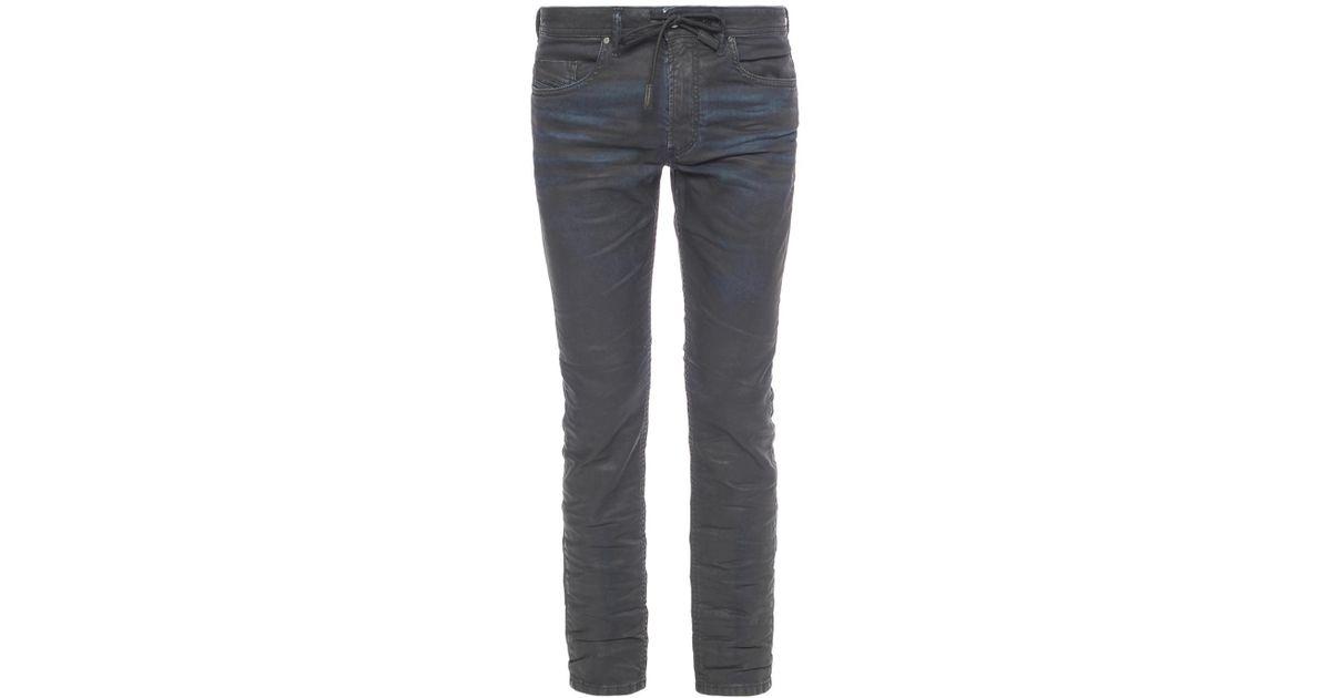 24763b58 DIESEL 'thommer Cb-ne' Waxed Jeans in Black for Men - Lyst