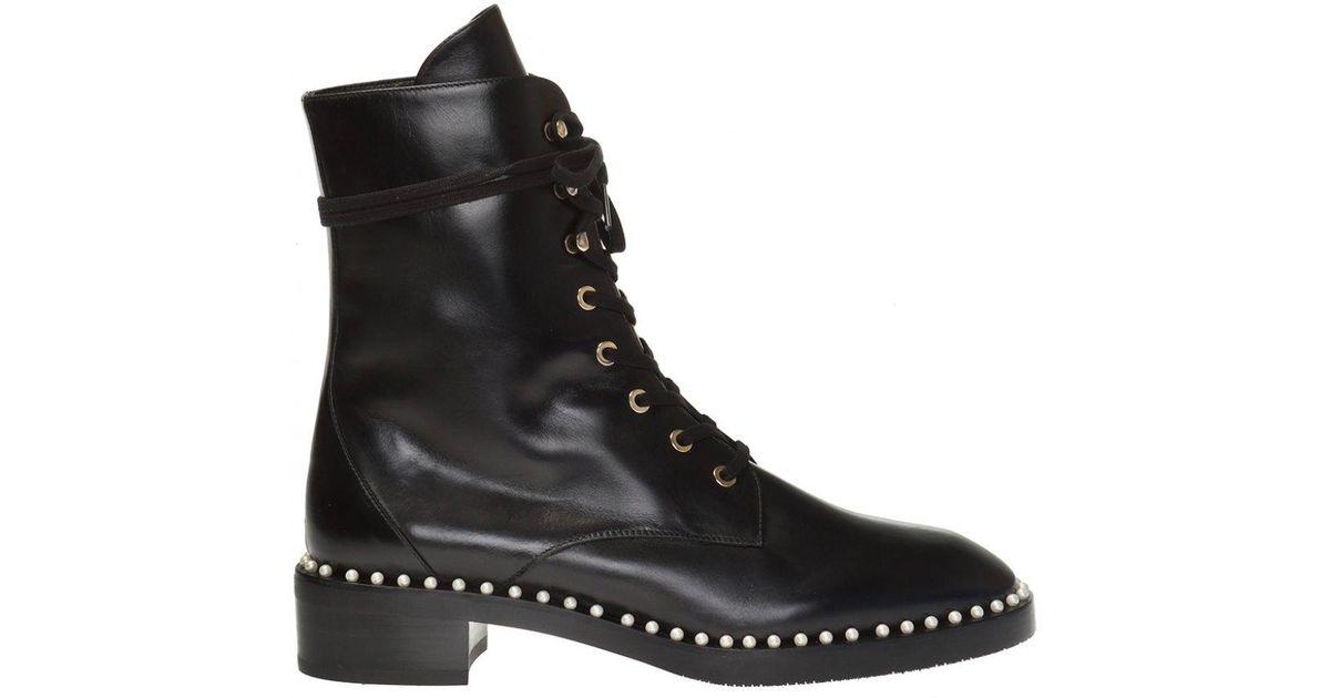 bc55af1de Stuart Weitzman 'sondra' Lace-up Heeled Ankle Boots in Black - Lyst