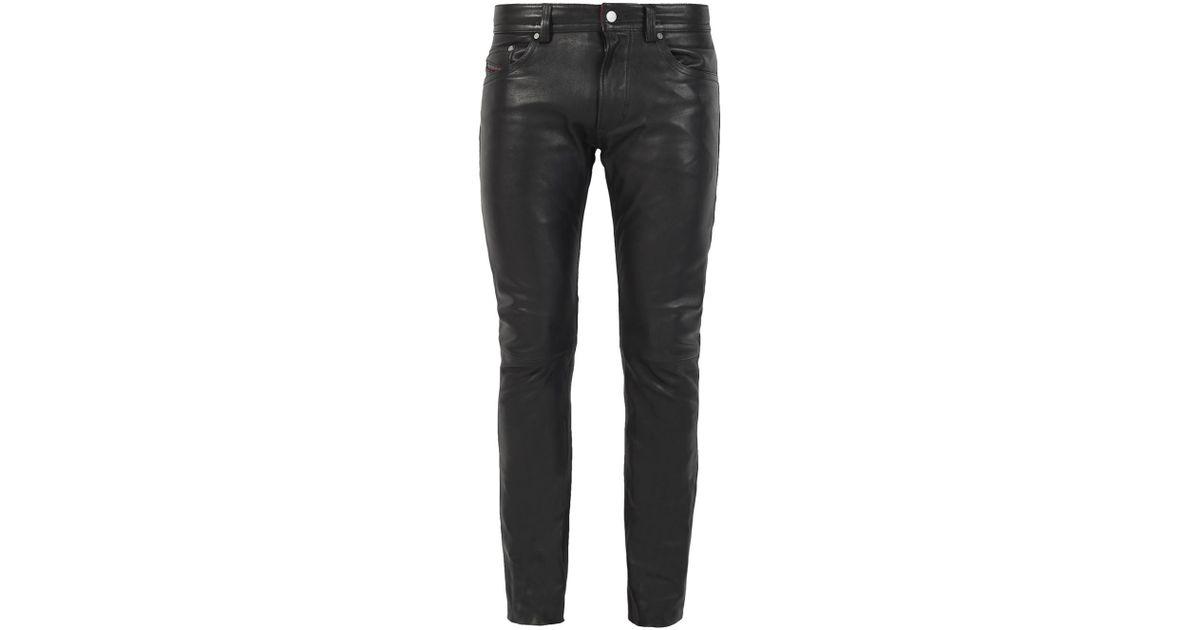 6b573287 DIESEL 'thavar' Leather Trousers in Black for Men - Lyst