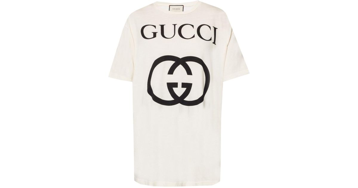 59772650f Lyst - Gucci Logo-printed T-shirt in White
