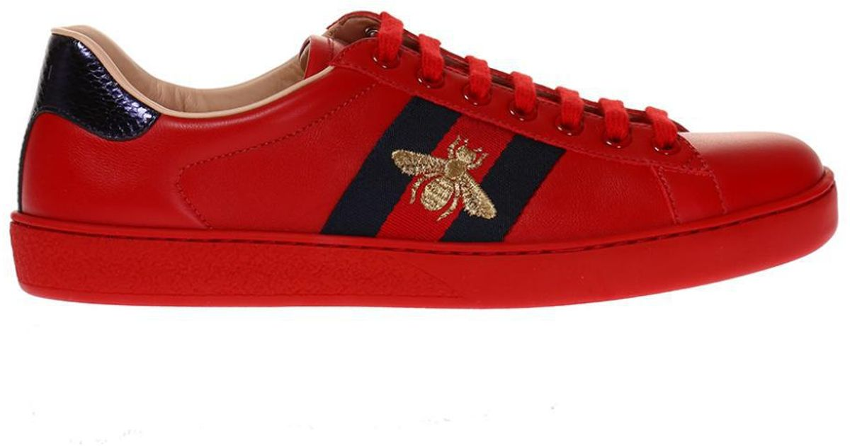 Gucci Leather 'ace' Sneakers With 'web