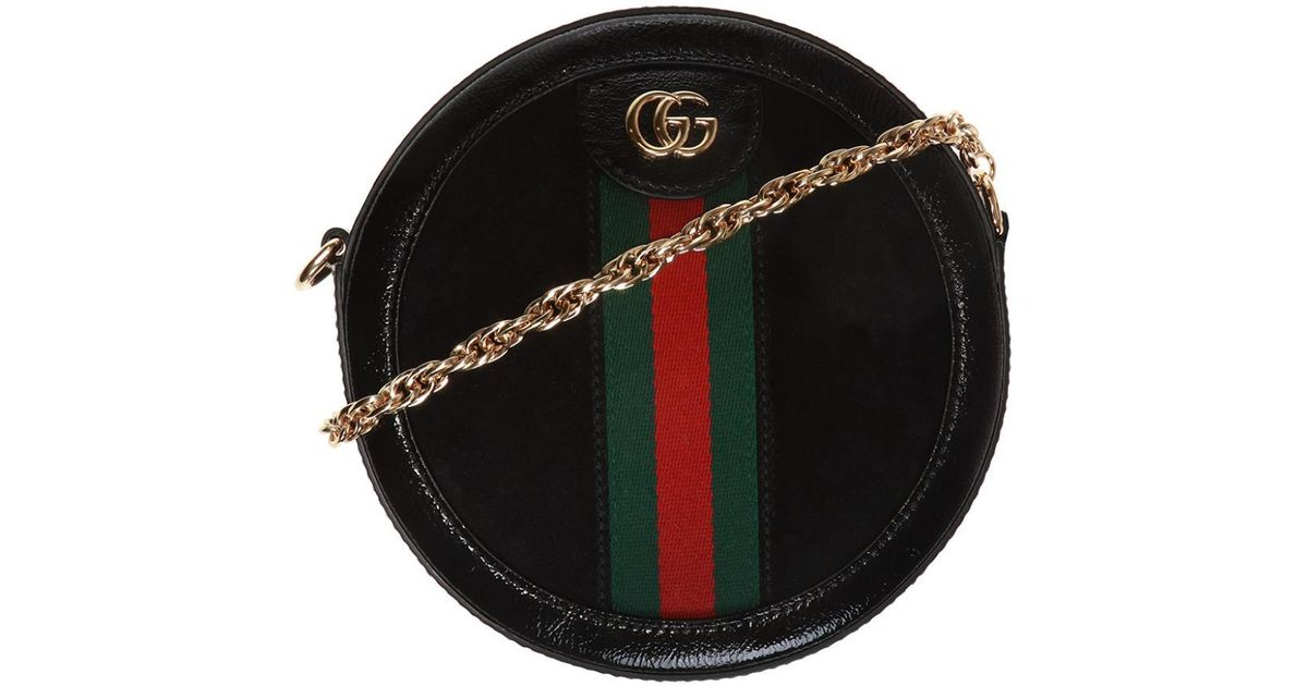 bfa50418254 Lyst - Gucci Ophidia Round Mini Shoulder Bag in Black - Save 28%