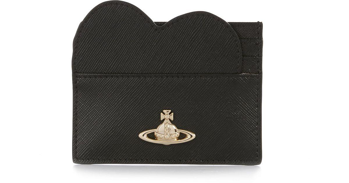 Lyst - Vivienne Westwood Opio Saffiano Heart Card Holder 321528 Black in  Black