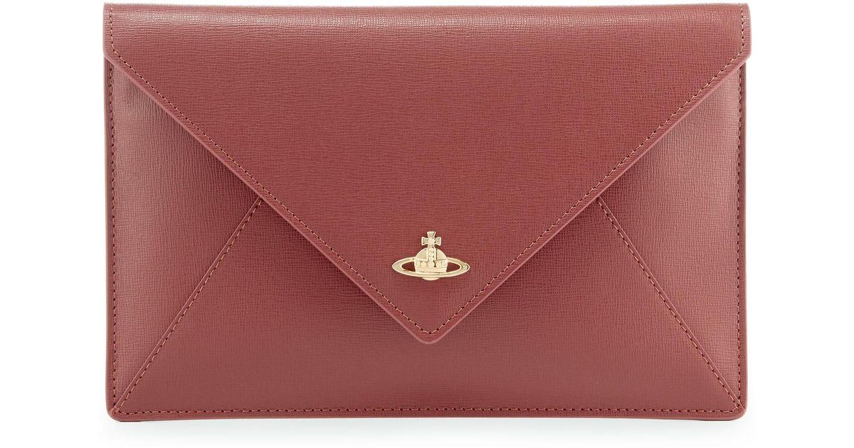 8b78a70386fc4 Vivienne Westwood Saffiano Pouch 52040008 Bordeaux in Pink - Lyst