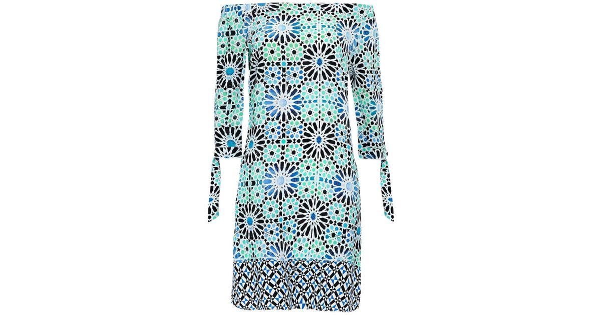 2add053397d2 Wallis Turquoise Tile Print Bardot Dress in Blue - Lyst
