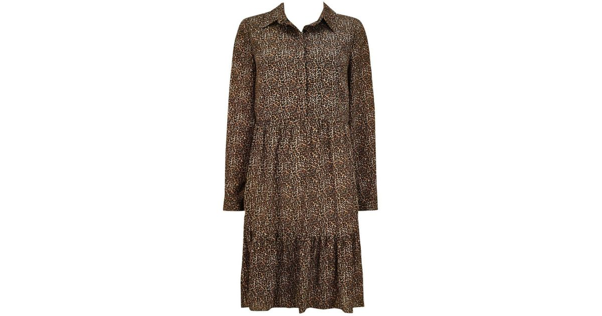 Wallis Stone Tiered Animal Print Shirt Dress - Lyst c7ab49220