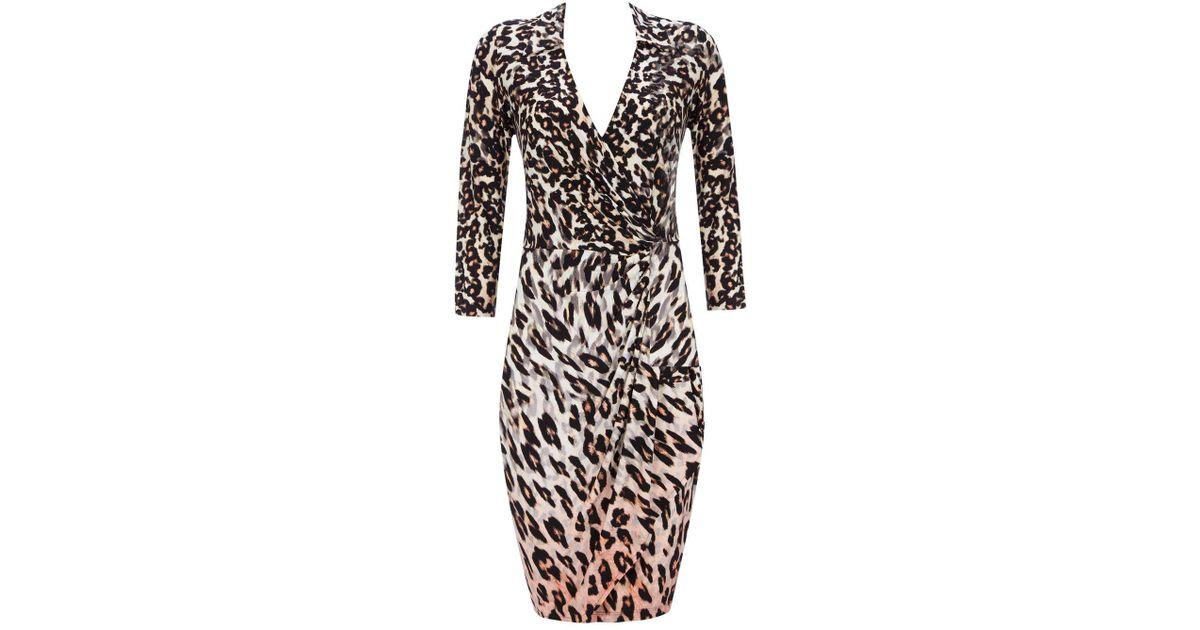 a1b106fed042f Wallis Animal Print Wrap Dress in Black - Lyst