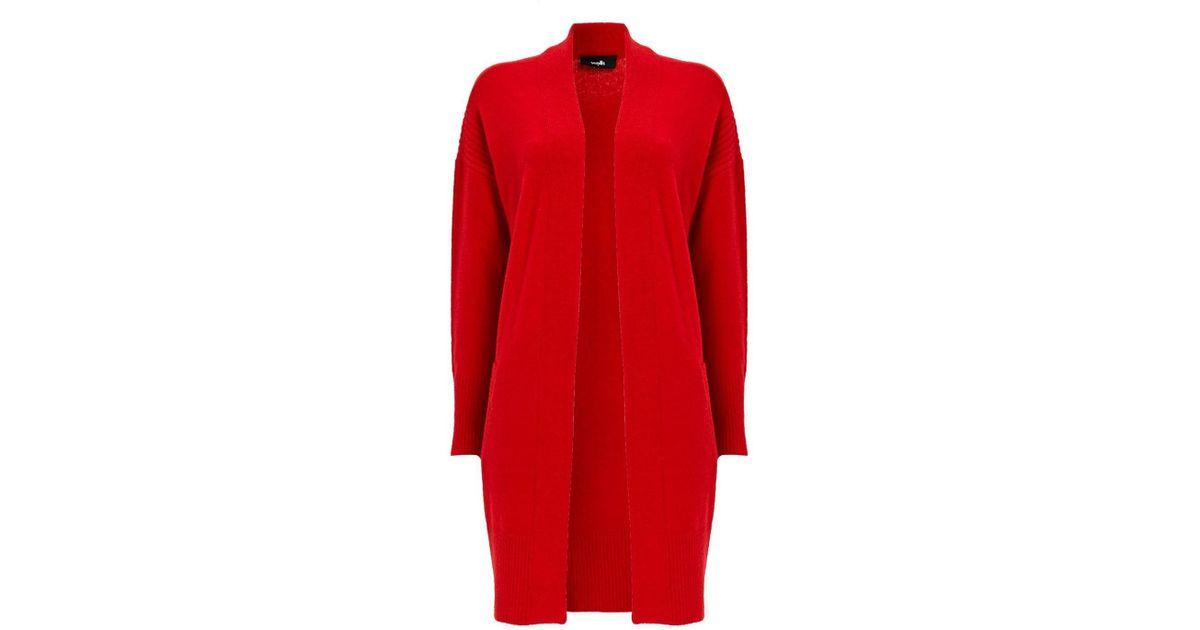 58afa42378 Wallis Red Textured Longline Cardigan in Red - Lyst