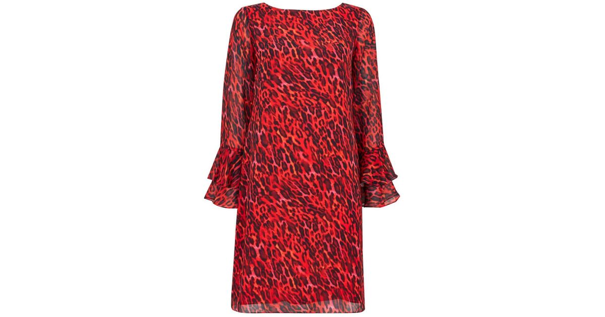 Wallis Red Animal Print Shift Dress in Red - Lyst 11d8acd5e