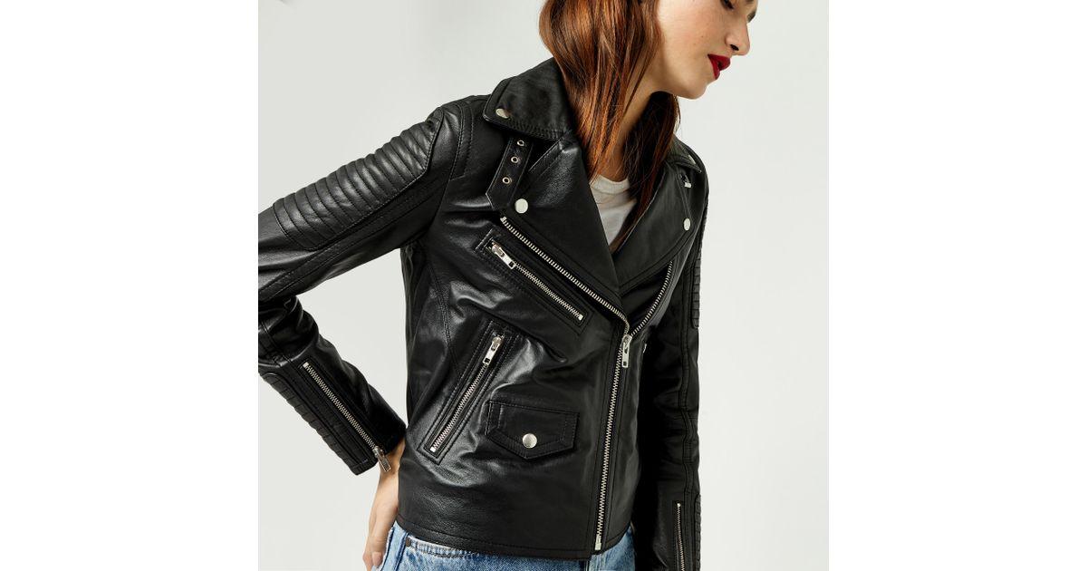 32feba3e6 Warehouse Black Quilted Leather Biker Jacket