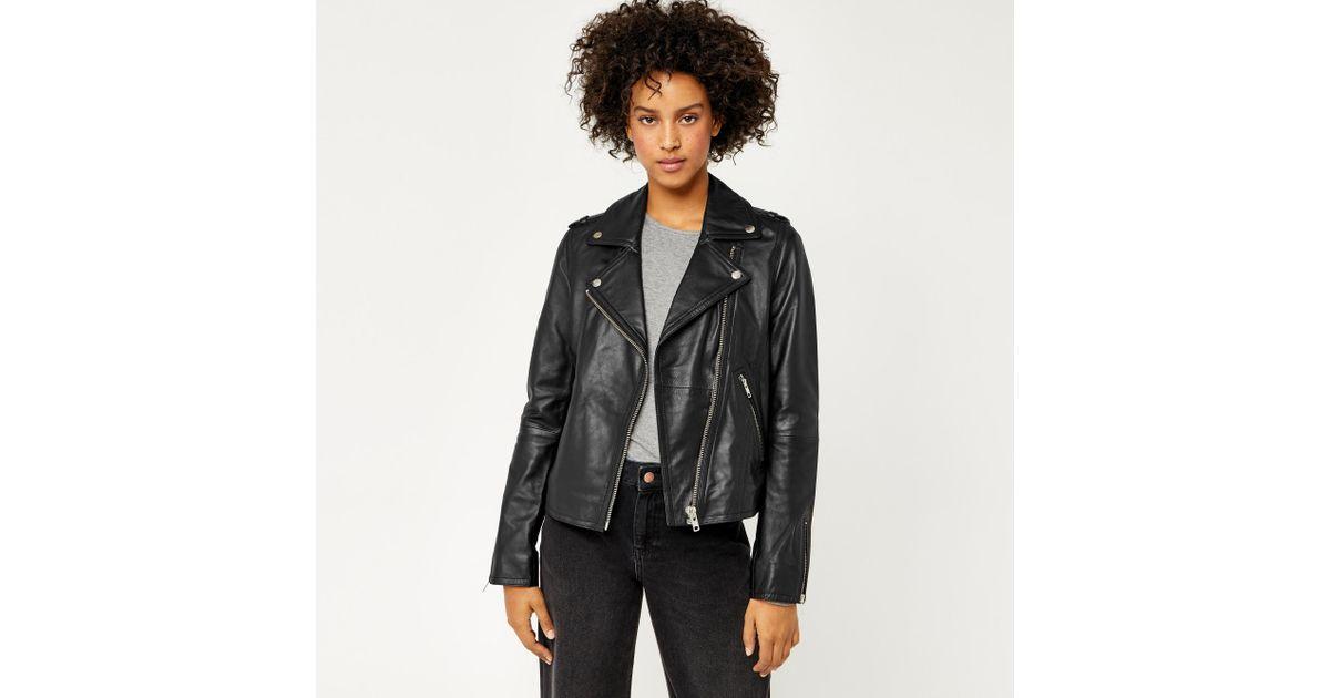 4777e7183 Warehouse Black Leather Biker Jacket