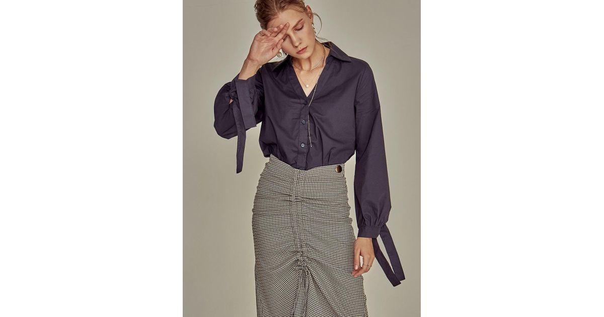 YAN13 Blue Y-lapel Ribbon Shirt_navy