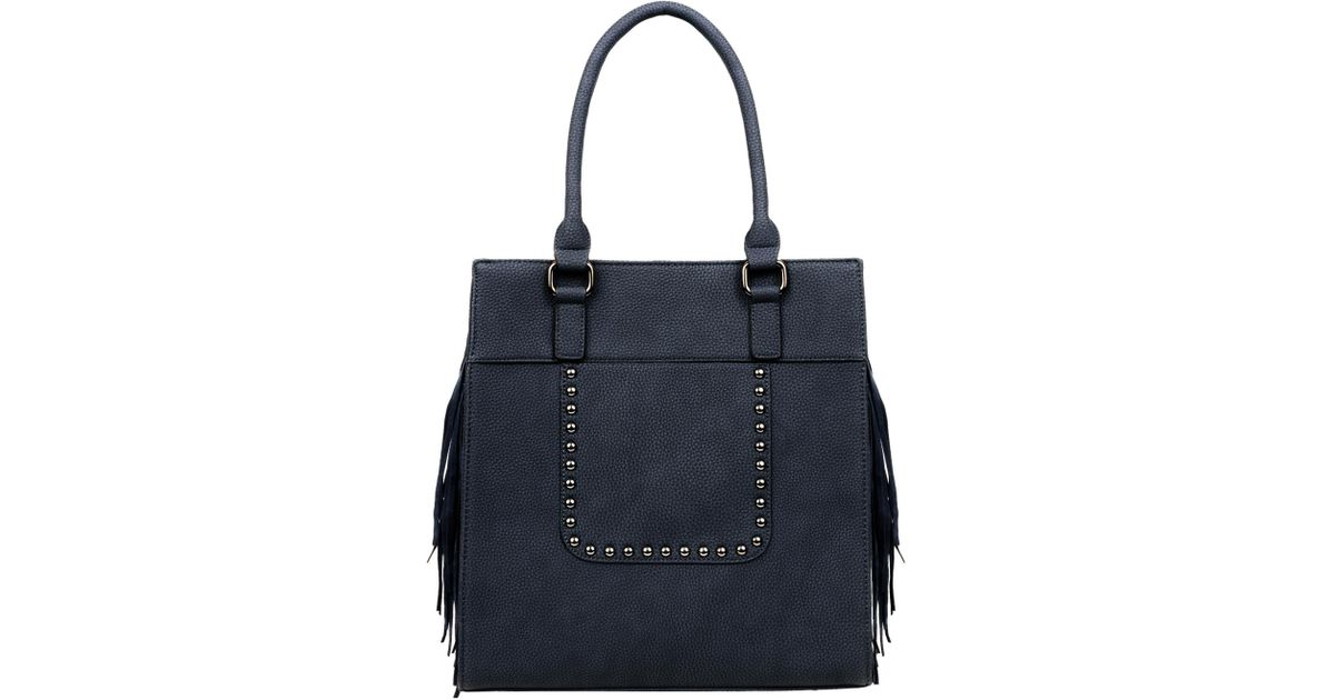 Wilsons Leather Blue Black Rivet Catrina Fringe Faux-leather Tote