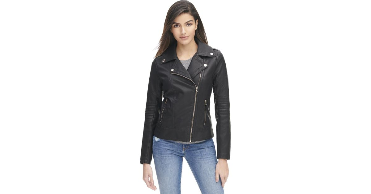 1b190075aca3f Lyst - Wilsons Leather Plus Size Marc New York Faux-leather Cycle Jacket W  Quilted  Sleeves in Black