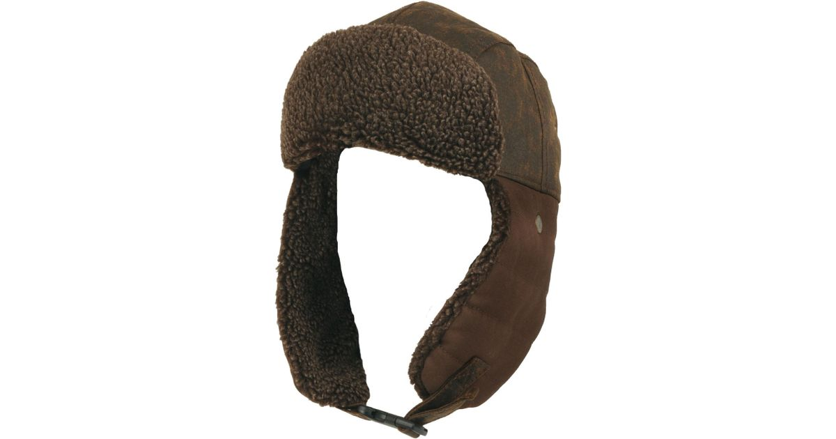 6f747a35bf653 Wilsons Leather Washed Canvas Trapper Hat W  Faux-sherpa in Brown for Men -  Save 34% - Lyst