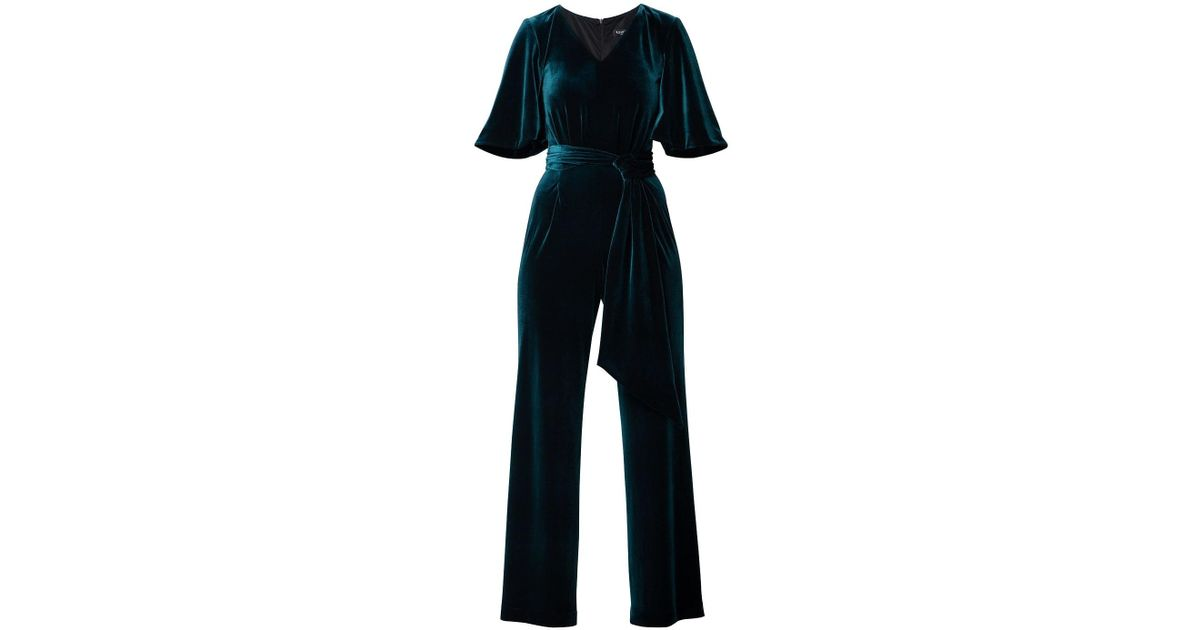 28a1301105e0f Rumour London Layla Velvet Jumpsuit With Bell Sleeves & Sash In Emerald  Green in Green - Lyst