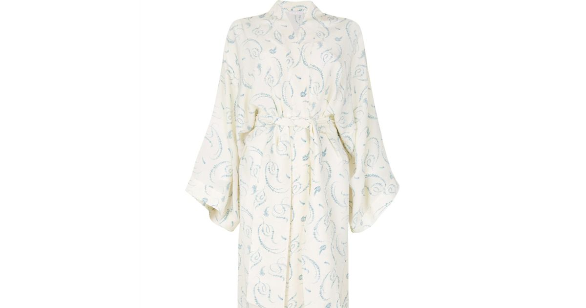 Lyst - Law Of Sleep Victoire Silk Kimono Dressing Gown
