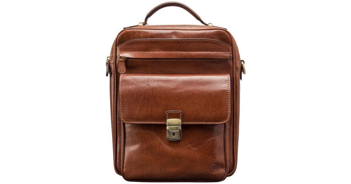 009e8a2b87 Maxwell Scott Bags Luxury Italian Leather Men s Large Shoulder Bag Santino  L Chestnut Tan in Brown for Men - Lyst
