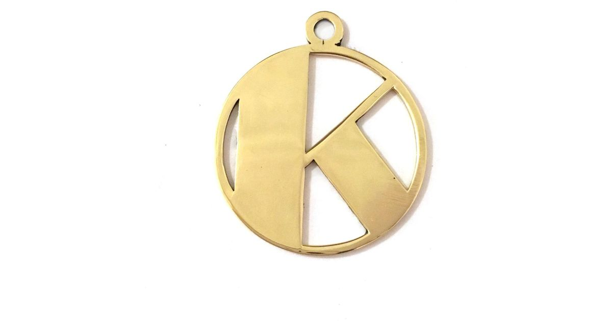 Lyst alice eden gold deco initial k pendant necklace in metallic aloadofball Image collections