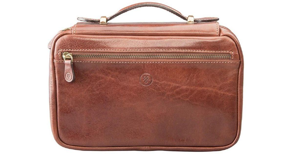 bec53cf6b1be Maxwell Scott Bags Luxury Italian Leather Women's Zip Around Toiletry Bag  Cascina Chestnut Tan in Brown - Lyst
